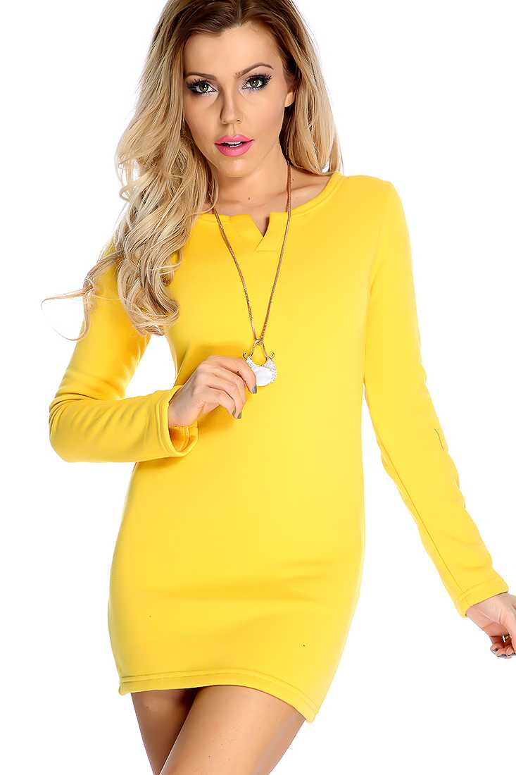 Sexy Marigold Long Sleeve Fitted Sweater Dress