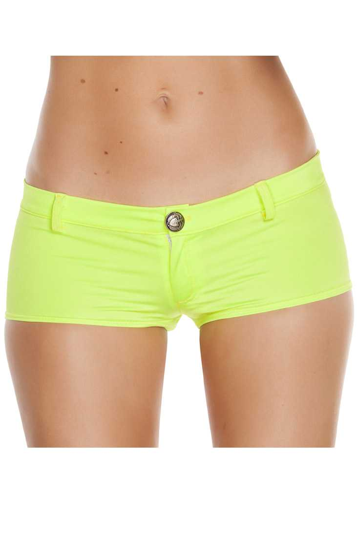 Yellow Front Button Detail Low Rise Shorts
