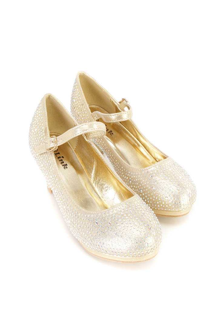 Gold Rhinestone Maryjane Kids Heels Shimmer Fabric