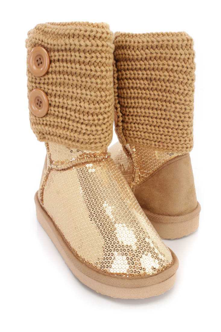 Gold Knitted Cuff Slip On Casual Boots Sequin