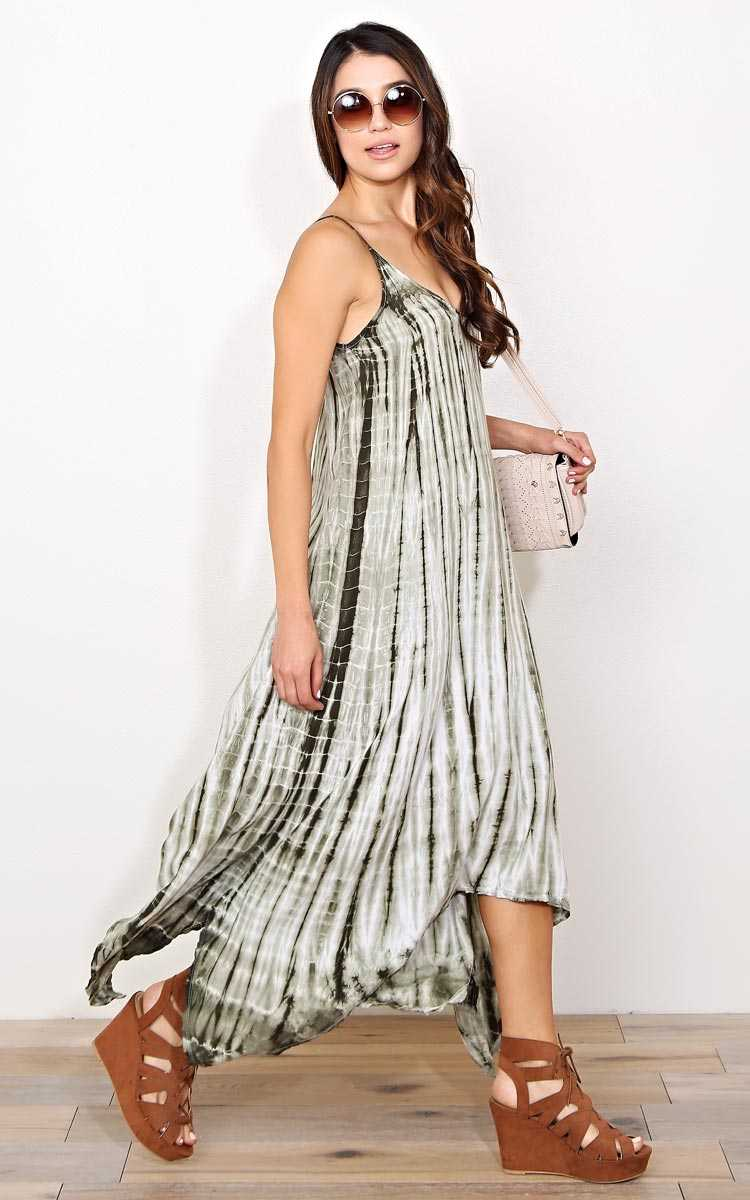 Olive Sumer Song Woven Dress - - Olive Combo in Size by Styles For Less