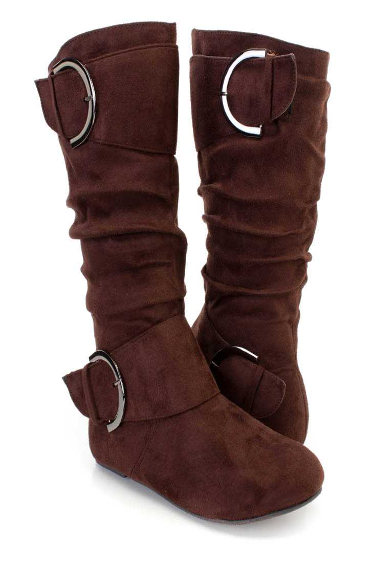 Brown Buckle Strappy Casual Boots Faux Suede