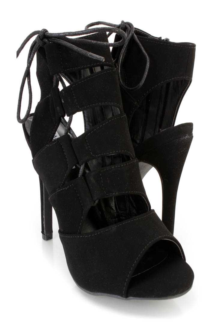 Black Strappy Lace Up Single Sole Heel Booties Nubuck