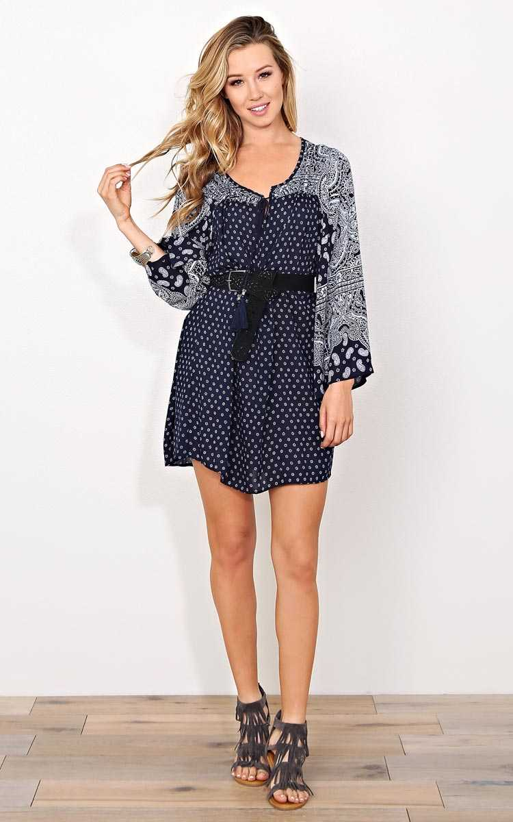 ANGIE Margot Woven Peasant Dress - SML - Navy Combo in Size Small by Styles For Less