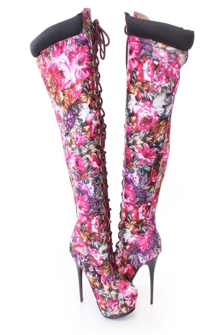 Pink Floral Print Lace Up Thigh High Platform Boots Fabric