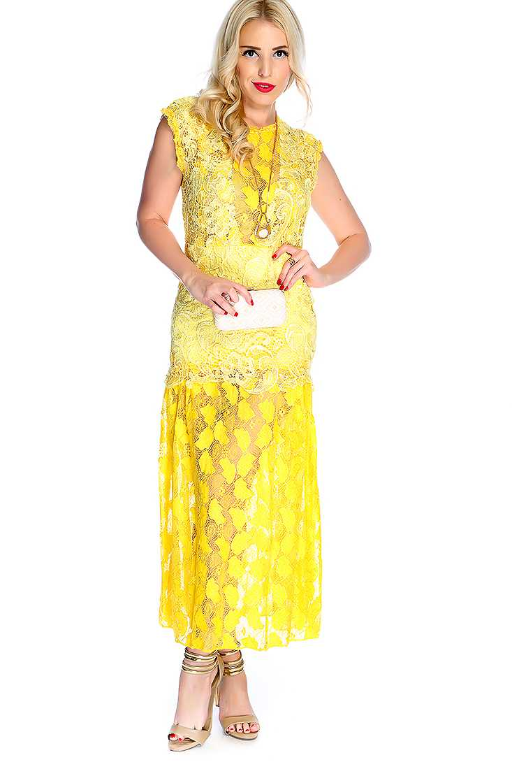 Sexy Yellow Leaf Crochet Overlay Party Dress