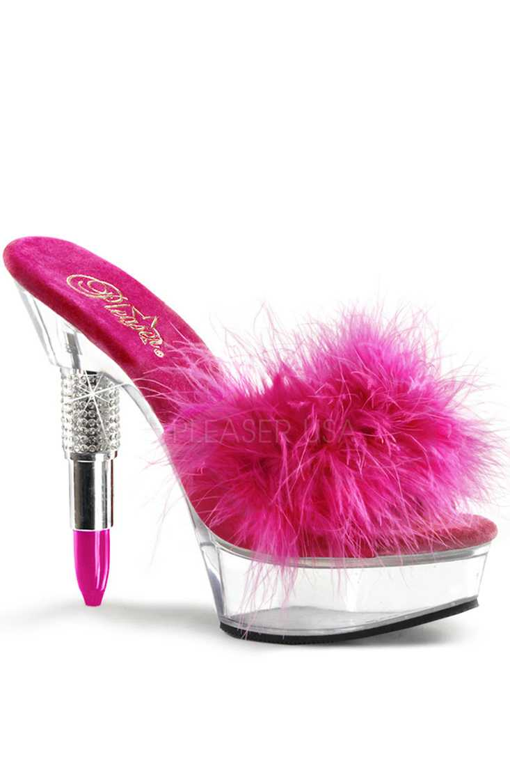 Fuchsia Rhinestone Embedded Lipstick Marabou Platform High Heels