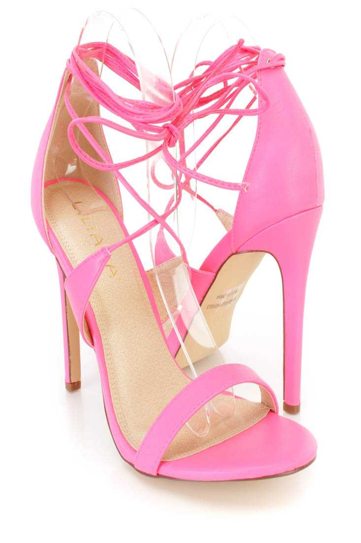 Neon Pink Lace Up Open Toe Single Sole High Heels Faux Leather