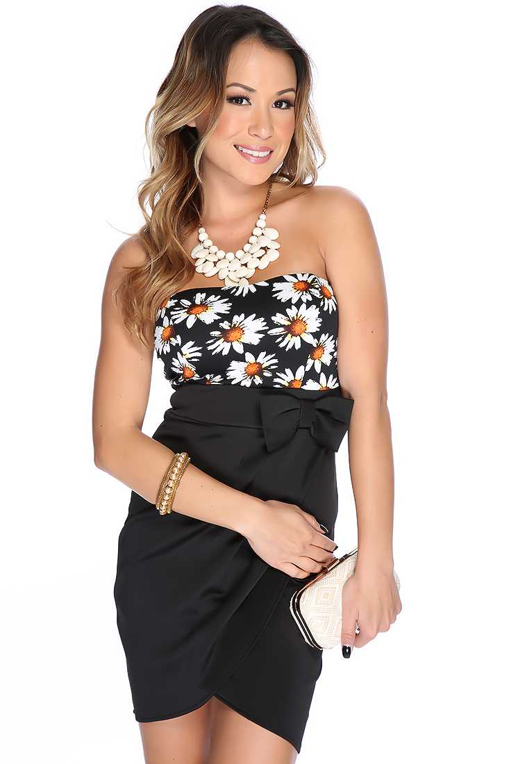Sexy Black Strapless Floral Print Bow Decor Party Dress