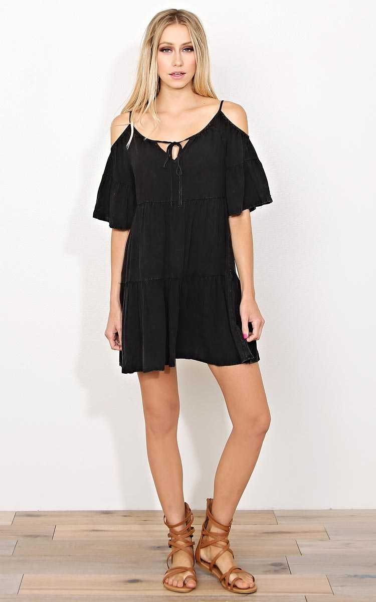 Mya Mineral Wash Woven Dress - - Black in Size by Styles For Less