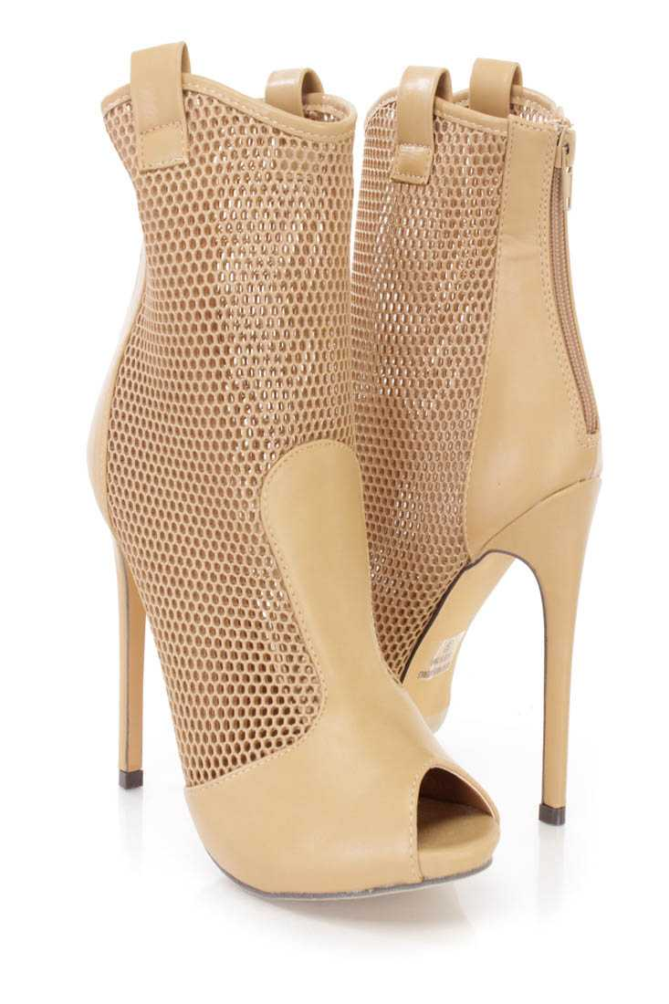 Beige Netted Peep Toe Stiletto Booties Faux Leather