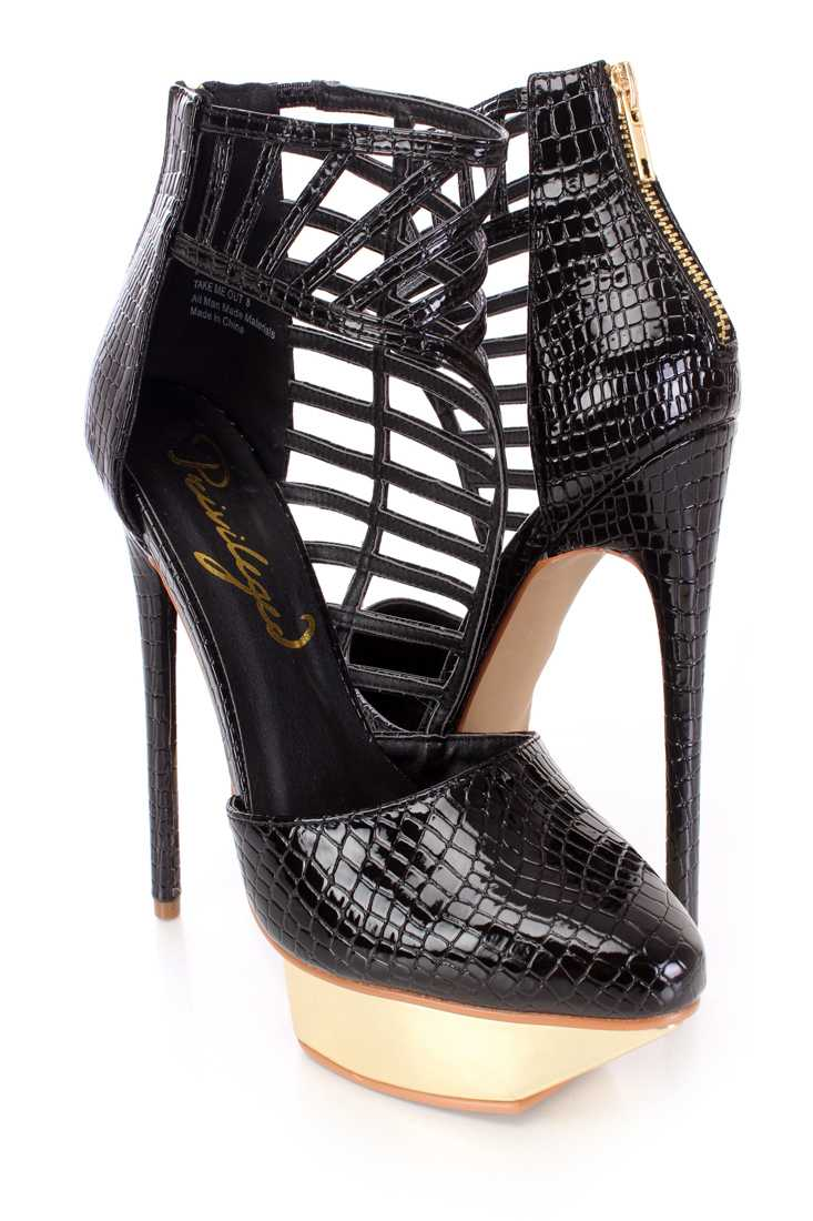 Black Strappy Stacked Platform Heels Patent