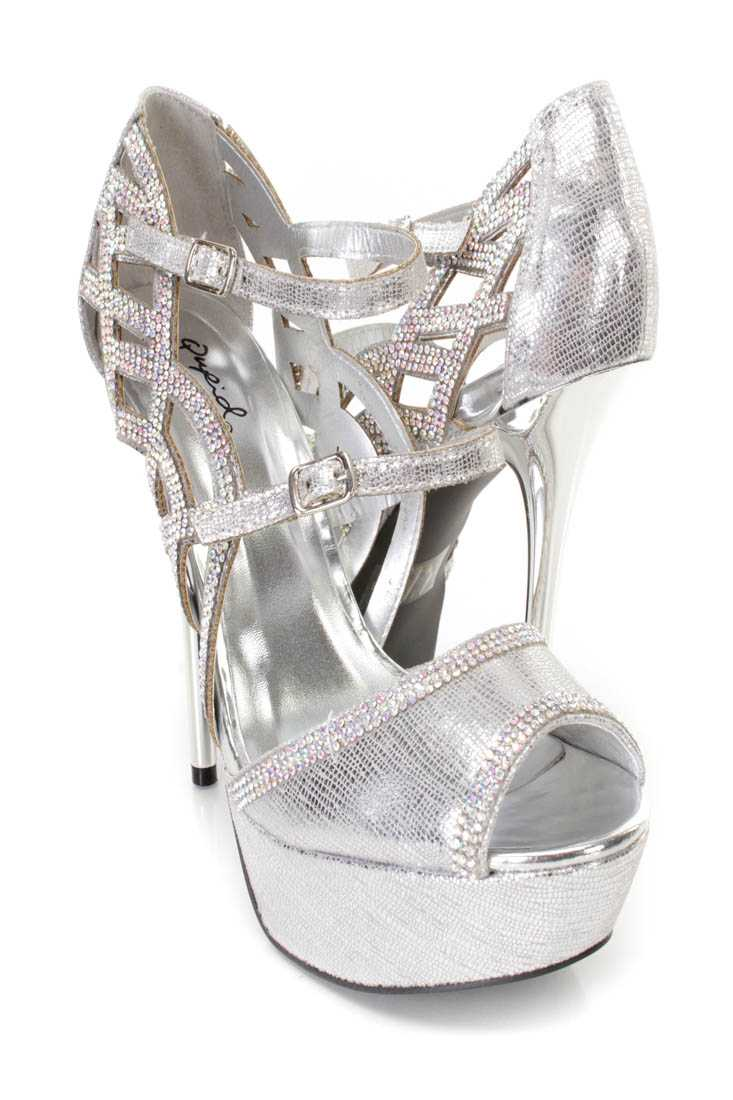 Silver Rhinestone Decor Platform Heels Faux Leather