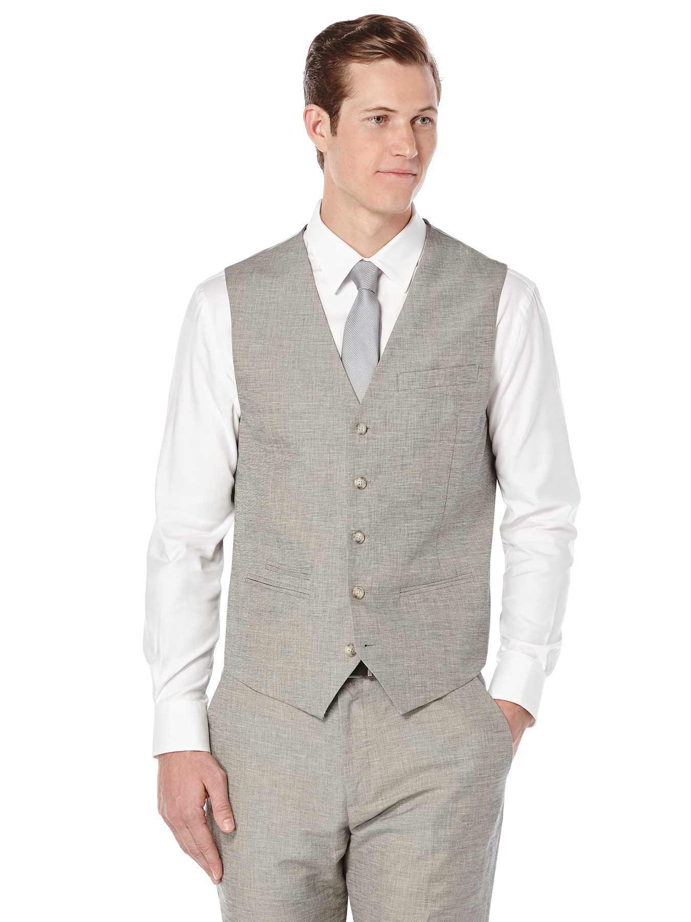 Perry Ellis Slim Fit End on End Linen Suit Vest