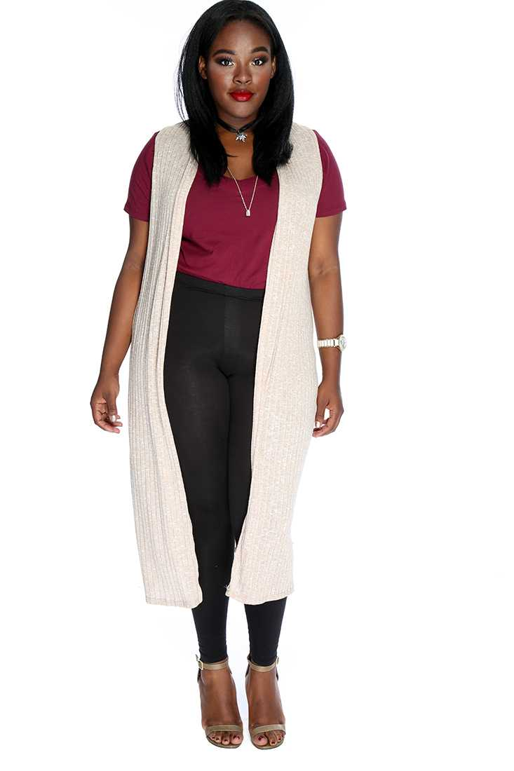 Beige Sleeveless Open Front Causal High Low Cardigan