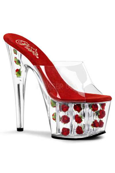 Clear Red Floral Platform High Heels