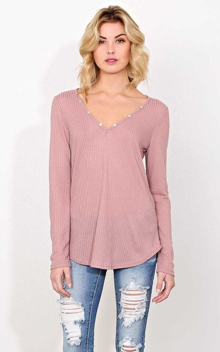 Bailey Waffle Knit Top - LGE - Mauve in Size Large by Styles For Less