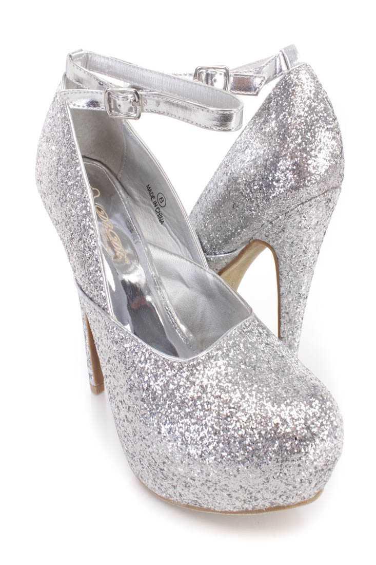 Silver Ankle Strap Platform High Heels Shimmer Fabric