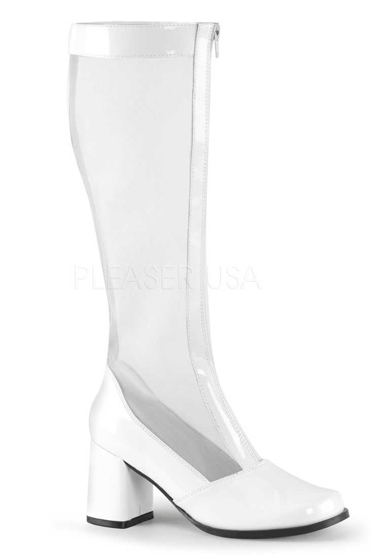 White Mesh Front Zipper Shaft Block Heel Boots Patent