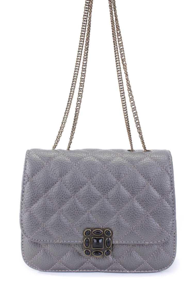 Grey Quilted Texture Chain Link Strap Shoulder Handbag