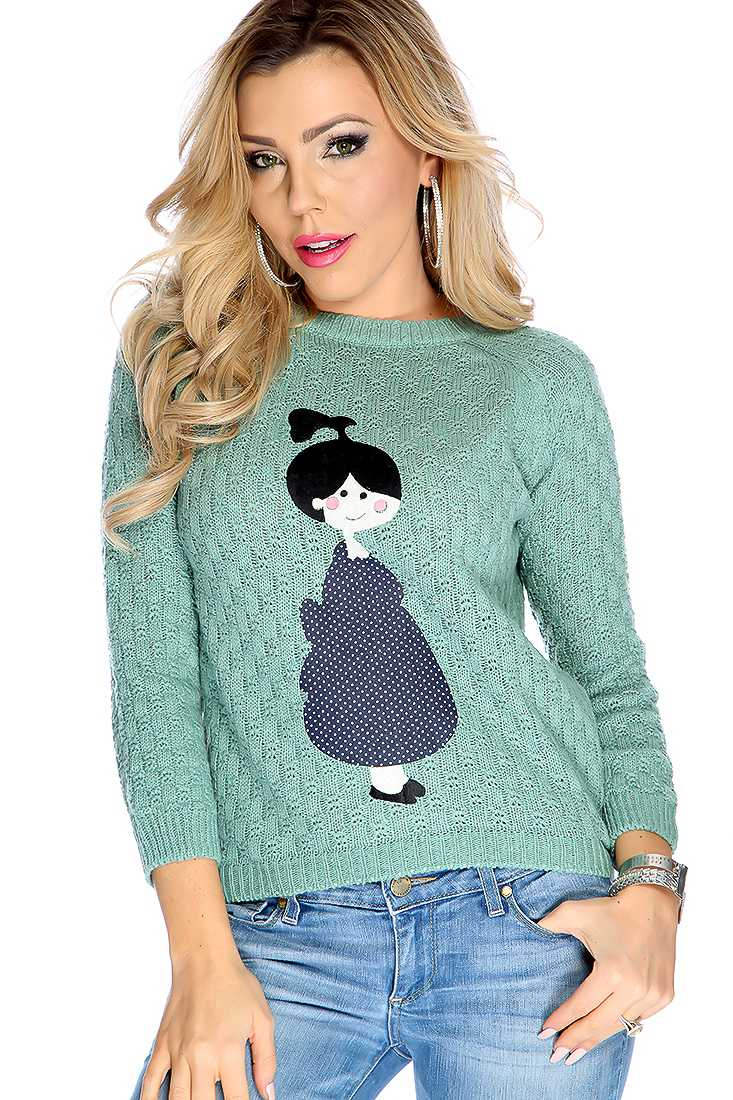 Sage Knitted Girl Patch Long Sleeve Sweater Top