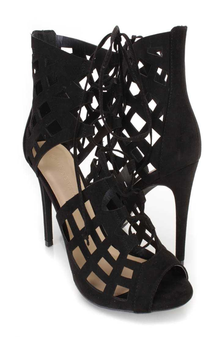 Black Lace Up Peep Toe Heels Faux Suede