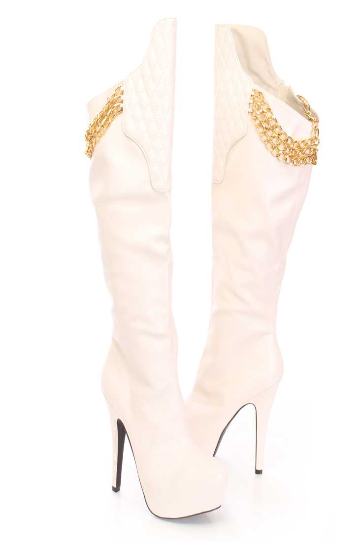 Stone Chain Link Knee High Boots Faux Leather
