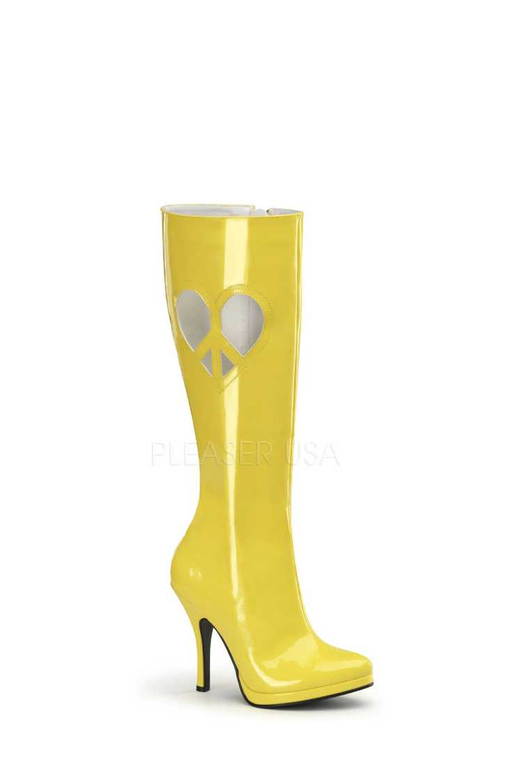 Yellow Peace Heart Cut Out Knee High Boots Patent