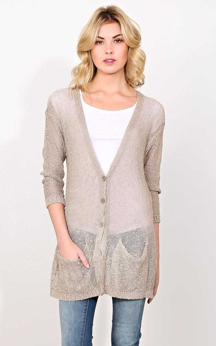 Dani Slub Knit Cardigan Sweater - - Taupe in Size by Styles For Less