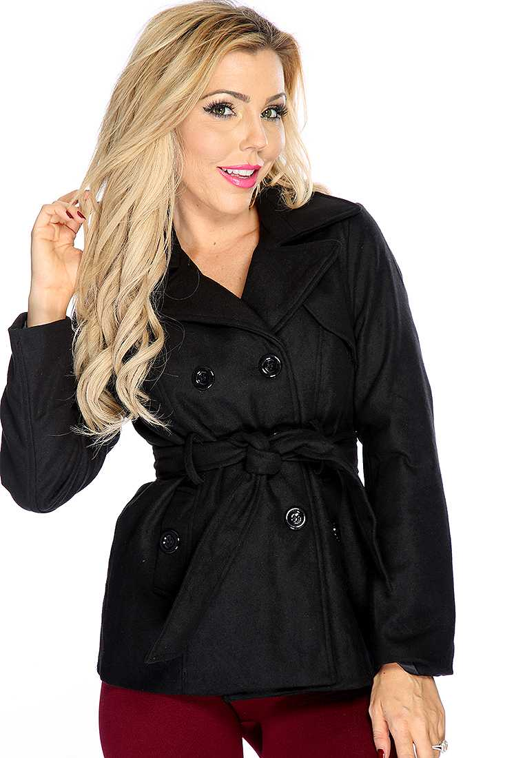 Black Double Breasted Side Pockets Coat