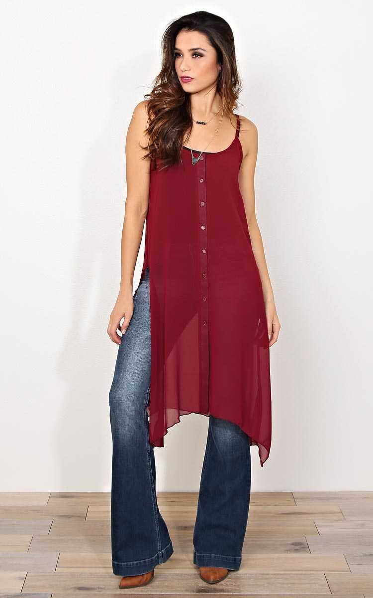 Autumn Risk Longline Top - MED - Burgundy in Size Medium by Styles For Less