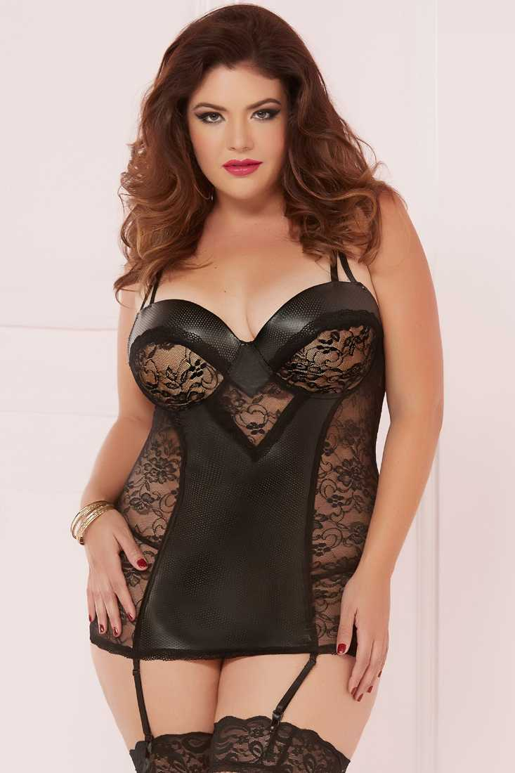 Sexy Black Plus Size Two Piece Chemise Set