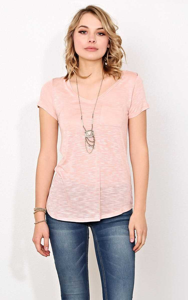 Dusty Rose V Neck Pocket Tee - - Dusty Rose in Size by Styles For Less