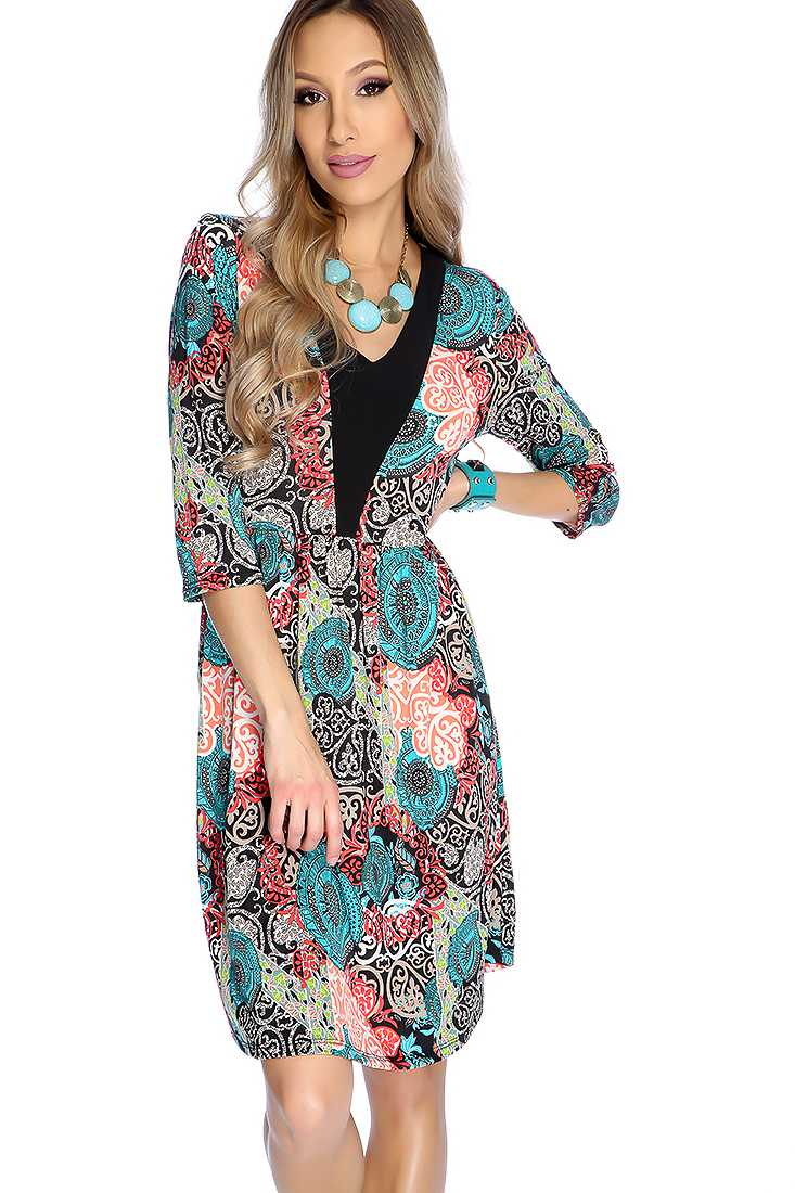 Sexy Teal Coral V-neck Paisley Print Party Dress