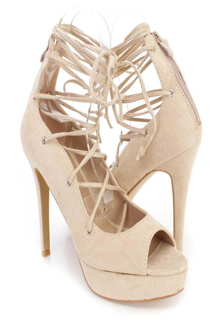 Beige String Tie Lace Up Platform High Heels Faux Suede