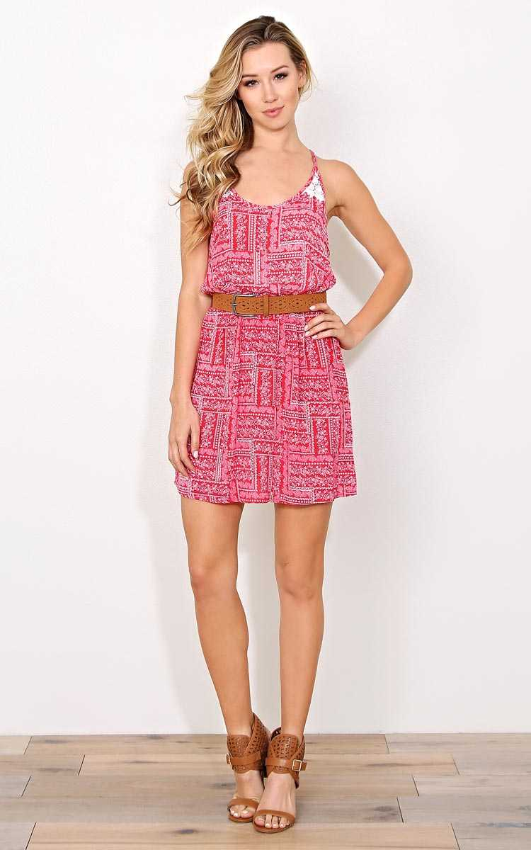 Sierra Vista Woven Dress - LGE - Red Combo in Size Large by Styles For Less
