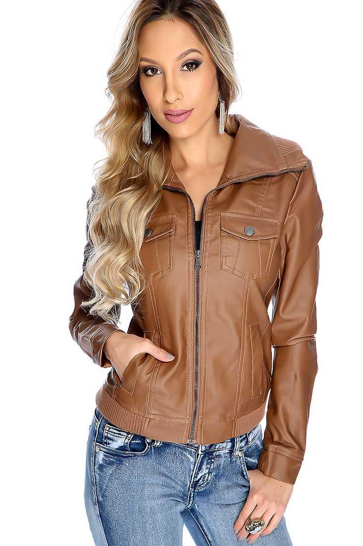 Light Brown Long Sleeve Zipper Closure Faux Leather Jacket
