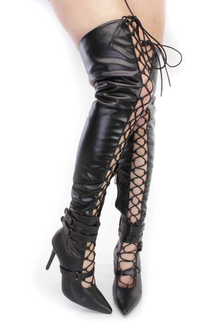 Black Lace Up Single Sole High Heel Thigh High Boots Faux Leather