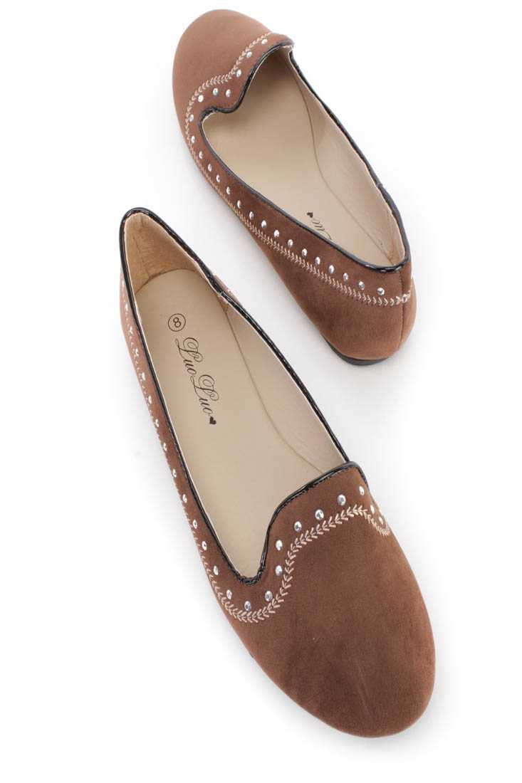 Brown Embroidered Rhinestone Slip On Loafer Flats Faux Suede