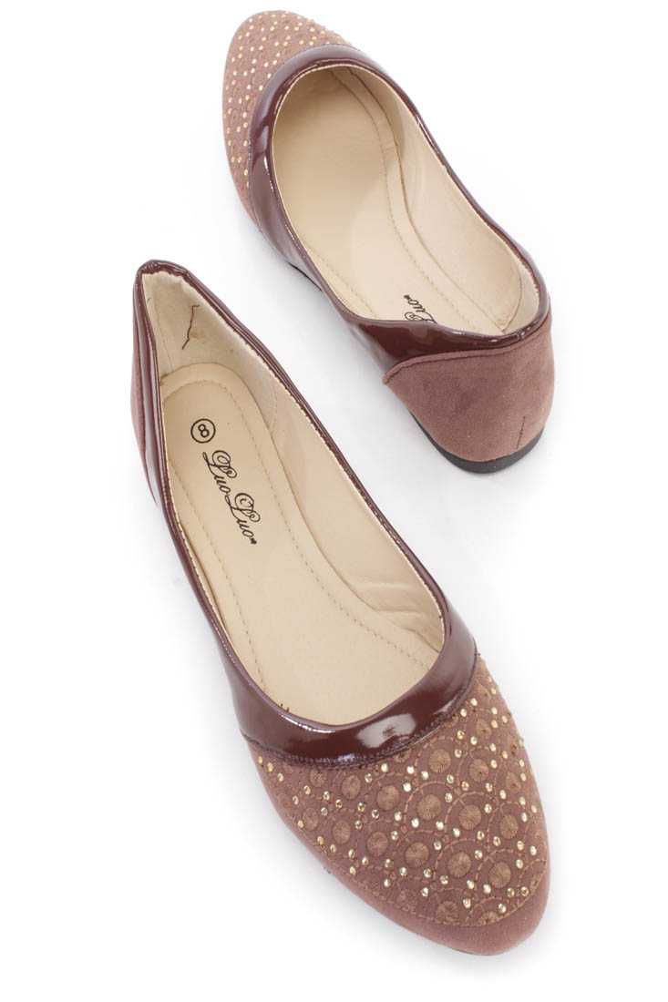 Brown Embroidered Rhinestone Design Flats Faux Suede