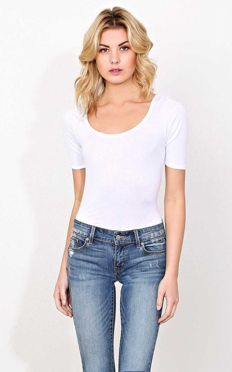 White Elbow Sleeved Knit Top - SML - White in Size Small by Styles For Less