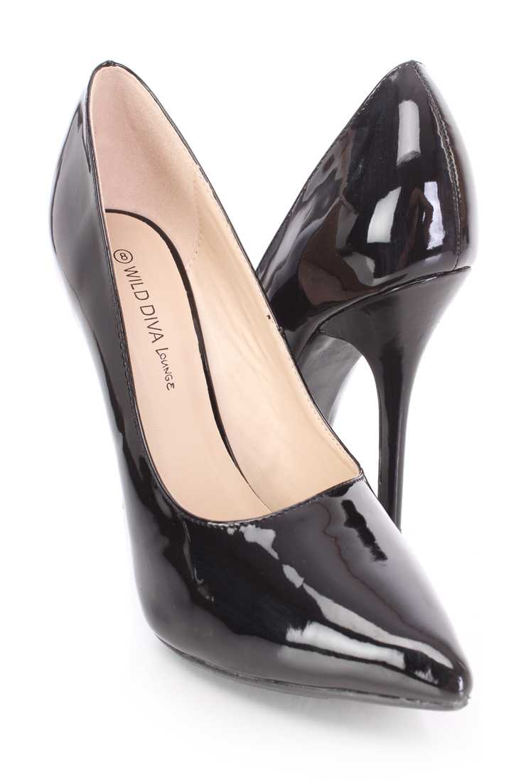 Black Single Sole Pump Heels Patent