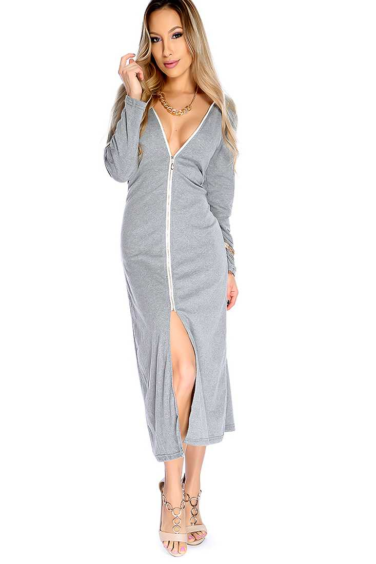 Sexy Grey Long Sleeve Front Slit Casual Dress