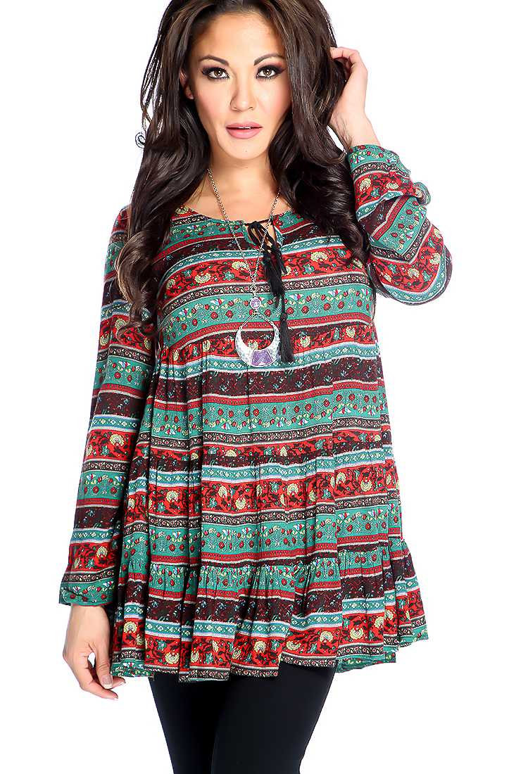 Red Green Floral Print Crochet Detail Long Sleeve Top