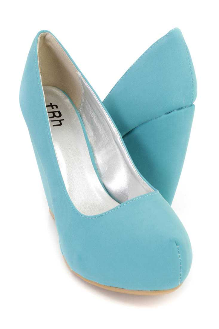 Mint Closed Toe Platform Wedges Nubuck Faux Leather