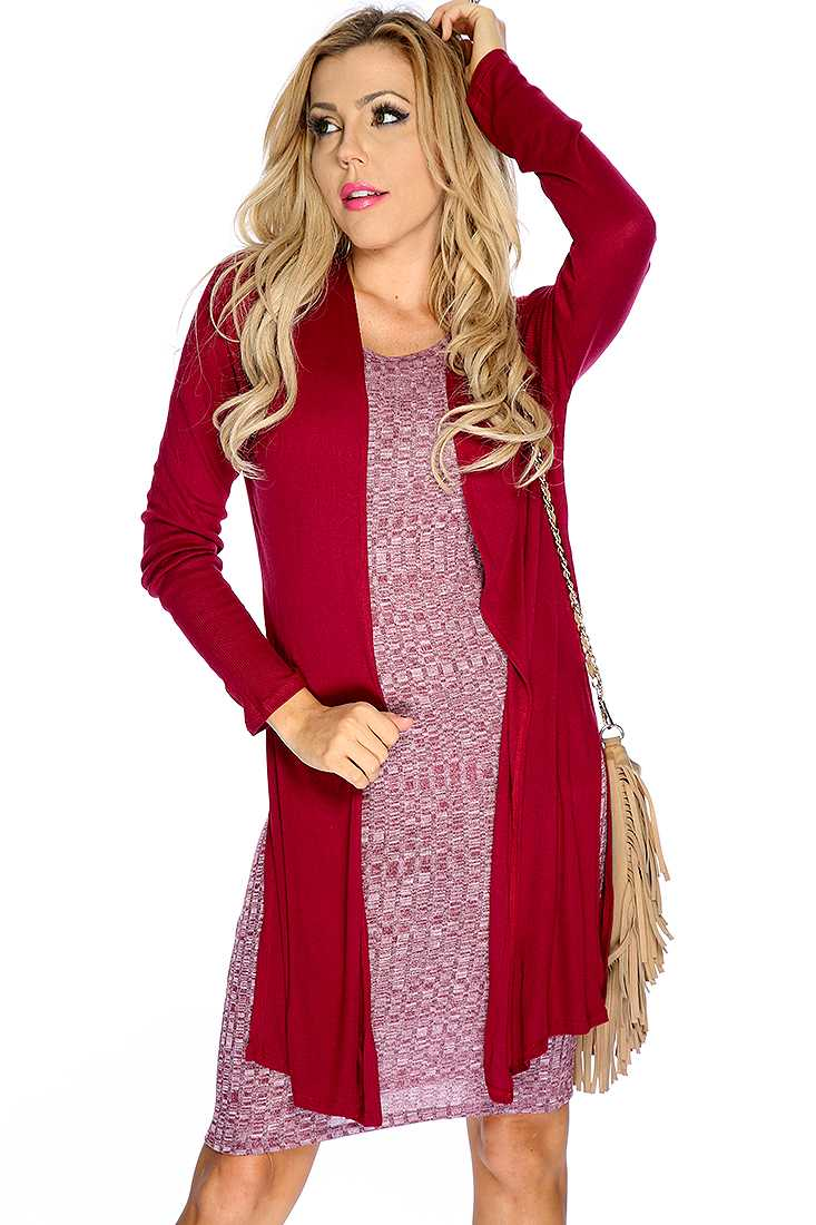 Cute Wine Long Sleeve Open Front Versatile Cardigan