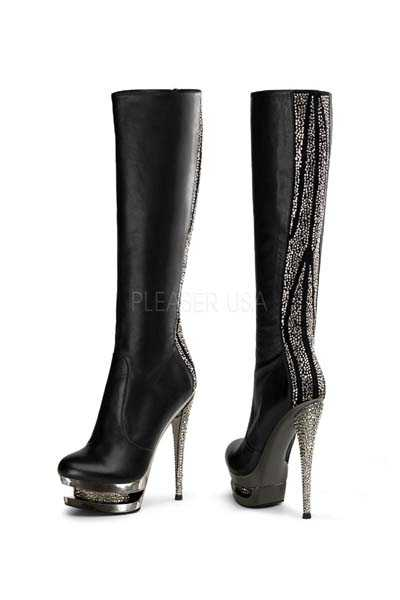 Black Faux Leather Trim Rhinestone Embellished Boots
