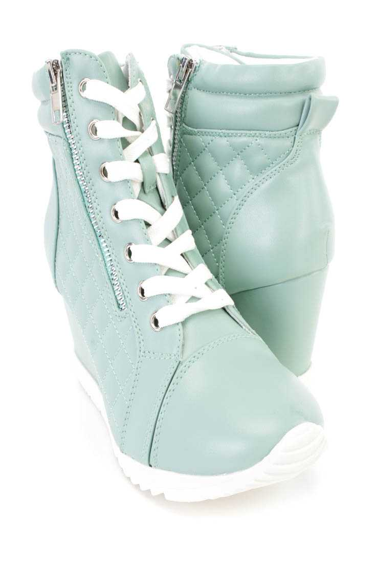Light Mint Quilted Sneaker Wedges Faux Leather