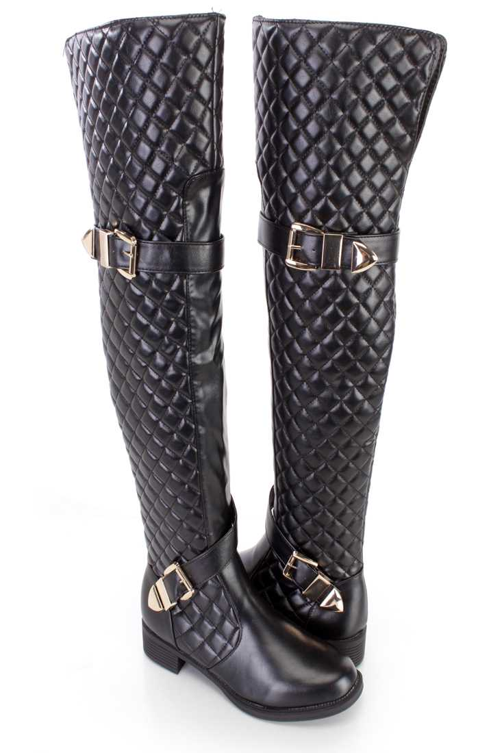 Black Quilted Thigh High Riding Boots Faux Leather