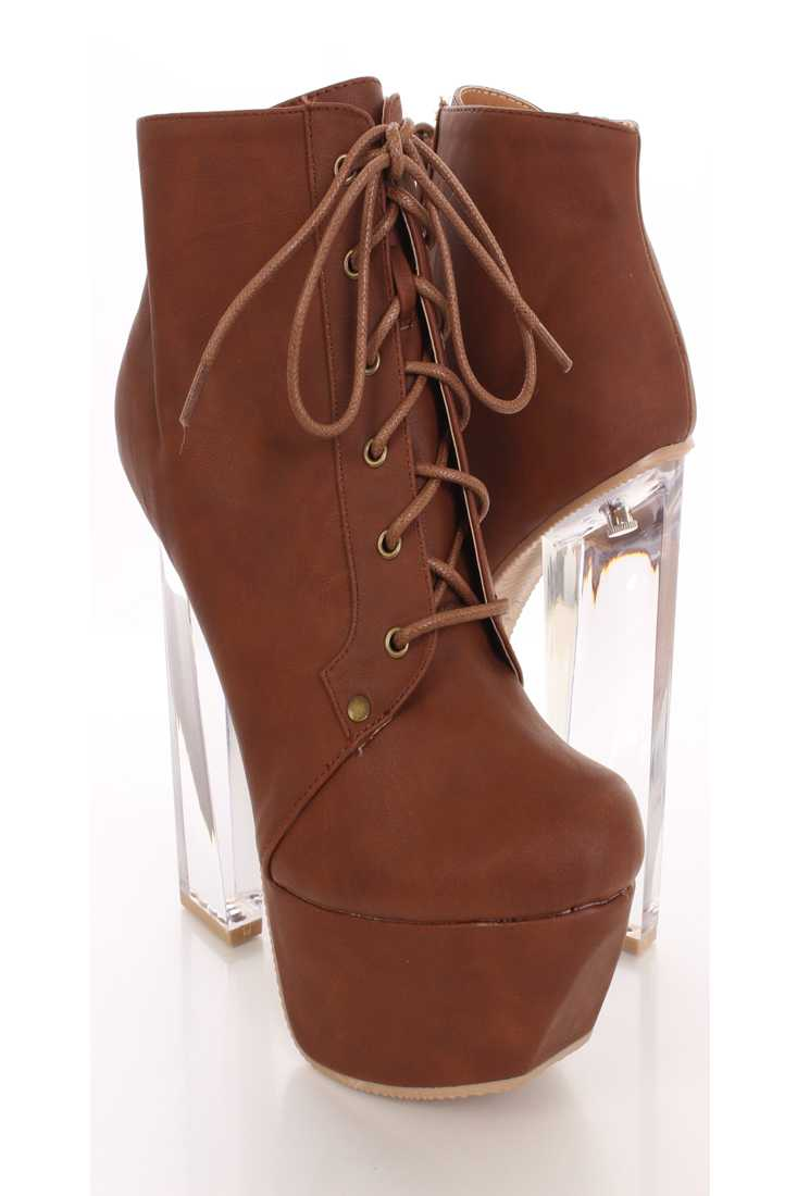 Cognac Faux Leather Chunky Booties